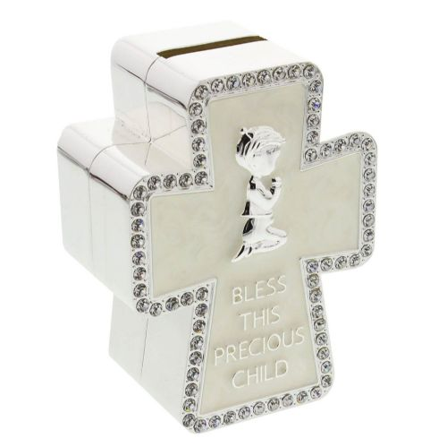 Baptism, Christening New Baby and Communion Gift 'Bless This Special Child' Crystal Embellished Cross Shaped Money Box